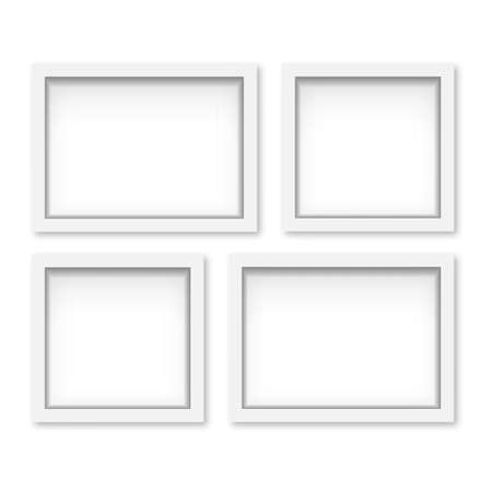 Set of white wooden photo frames with soft shadow. Vector Banco de Imagens - 153141930