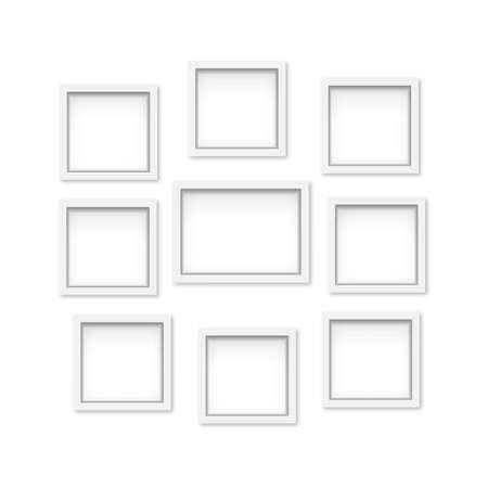 Set of white wooden photo frames with soft shadow. Vector Banco de Imagens - 153142024