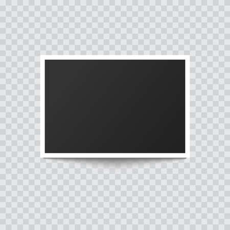Retro realistic photo frame with shadow on transparent background. Vector.
