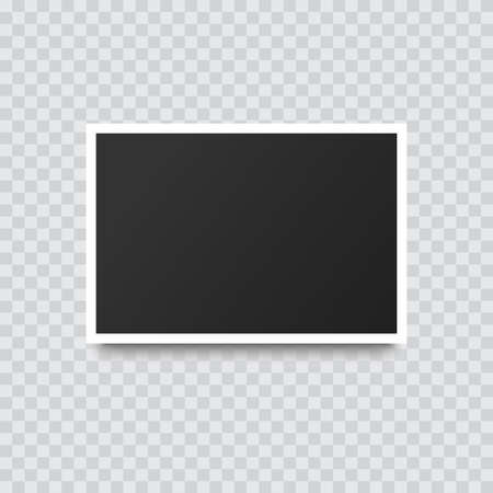 Retro realistic photo frame with shadow on transparent background. Vector. Vektorové ilustrace