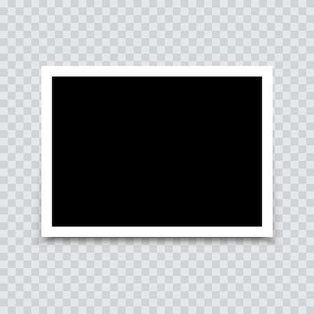 Empty photo frame mock up with shadow. Vector.