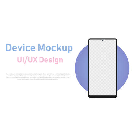 Smartphone blank screen, phone mockup with blue circle for UI design interfac. Vector