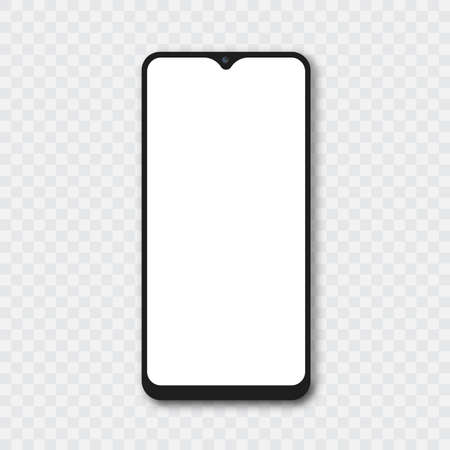 Smartphone Mockup with white screen. Vector.