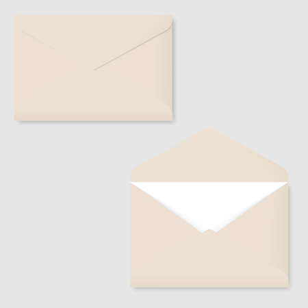 Realistic blank white letter paper envelope front view. Vector.