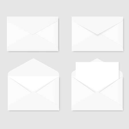 Set of white letter paper envelopes front view. Vector