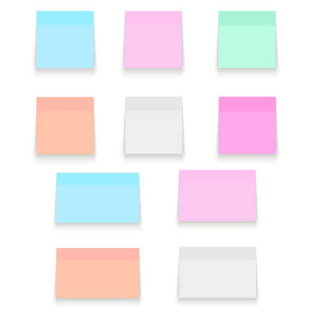 Set of Office paper sheets or sticky stickers with shadow. Vector