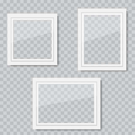 Realistic white wooden photo frame with soft shadow. Vector