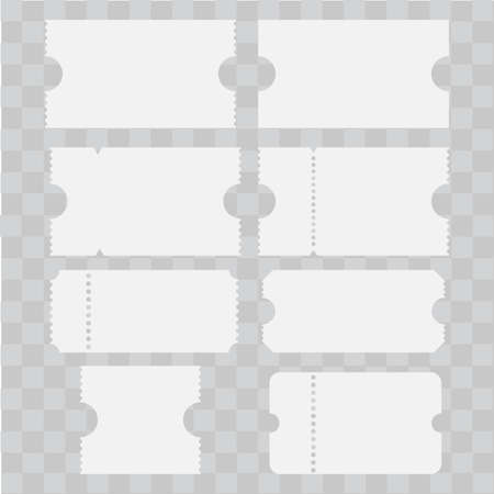 Set of old cinema tickets on white. Vector