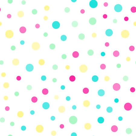 Seamless pattern with random colorful dots on white background. Vector Banco de Imagens - 154672592