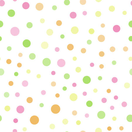 Seamless pattern with random colorful dots on white background. Vector Banco de Imagens - 154672593