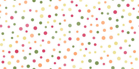 Seamless pattern with random colorful dots on white background. Vector Banco de Imagens - 154672606