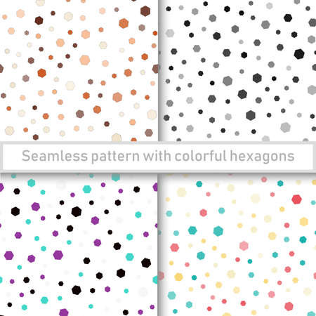 Set of seamless patterns with colorful hexagons. Vector.