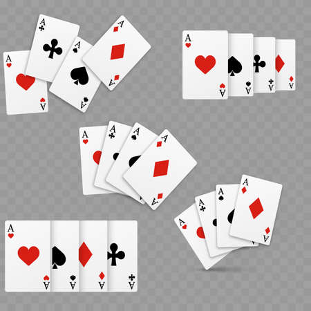 Set of four of a kind aces playing cards. Realistic vector Stock Illustratie