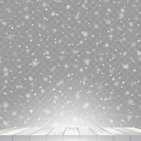 Christmas background with falling snowflakes on wooden table. Vector. Stock Illustratie
