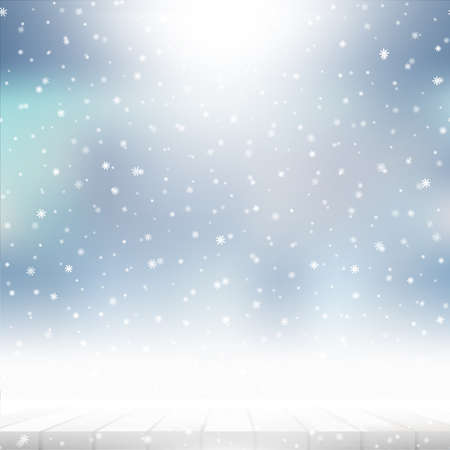Winter falling snow background for New Year or Christmas greeting card. Vector