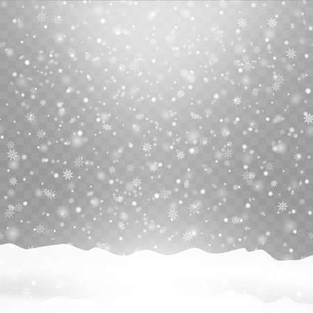 Realistic falling snow on transparent background. Snowflakes, snow background. Vector illustration.