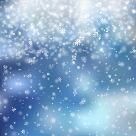 Christmas or New Year background with falling snowflakes. Vector.