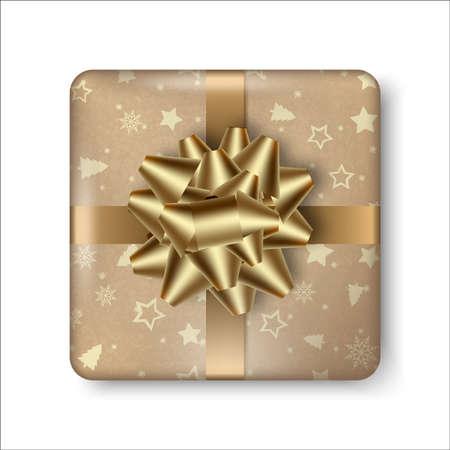 Realistic golden gift box with golden bow. Vector. Ilustração