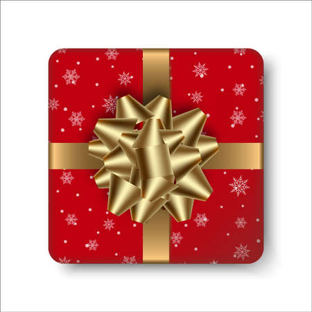 Realistic red gift box with golden bow. Vector.