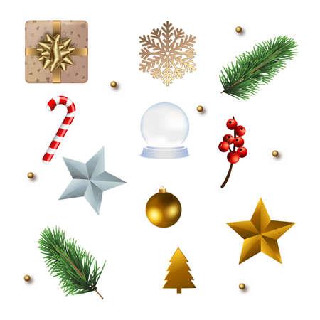 Set of Christmas ornaments for your design. Vector Ilustração