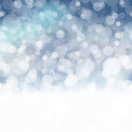 Christmas background with falling snowflakes on blue sky. Vector. Ilustração