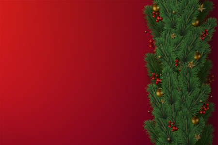Christmas tree branches on wooden red background. Vector.