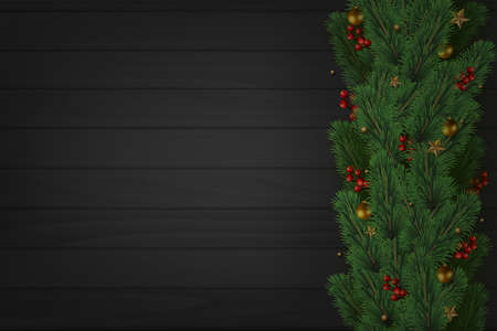 Christmas tree branches on wooden dark background. Vector.
