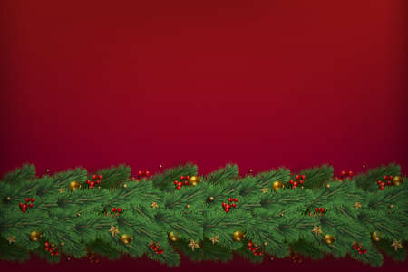Christmas tree branches with decorations on red background. Vector Banco de Imagens - 155966804