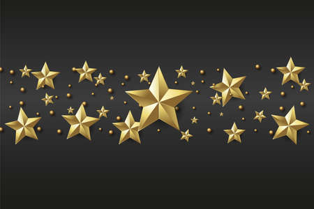 Xmas or Happy New Year background with golden stars on black background. Vector Ilustração