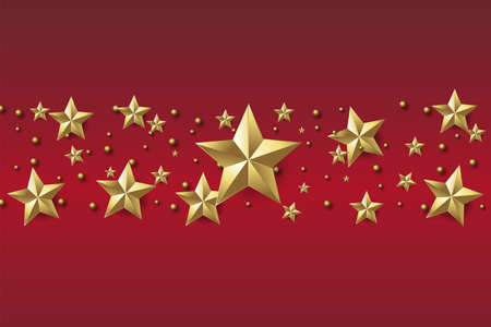 Xmas or Happy New Year background with golden stars on red background. Vector Banco de Imagens - 155966807