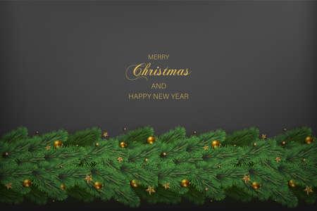 Happy New Year and Xmas card with Xmas tree decorations on dark background. Vector. Ilustração