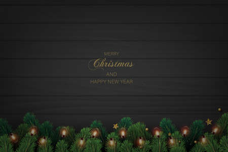 Happy New Year and Xmas card with Xmas tree decorations on dark wooden background. Vector.