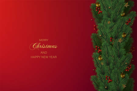 Happy New Year and Xmas card with Xmas tree decorations on red background. Vector.