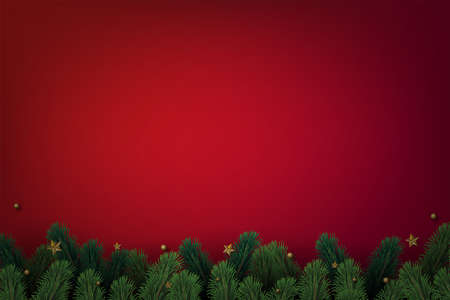Christmas tree branches with decorations on red background. Vector