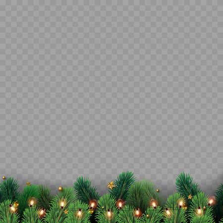 Christmas tree branches with decoration on transparent background. Vector Ilustração