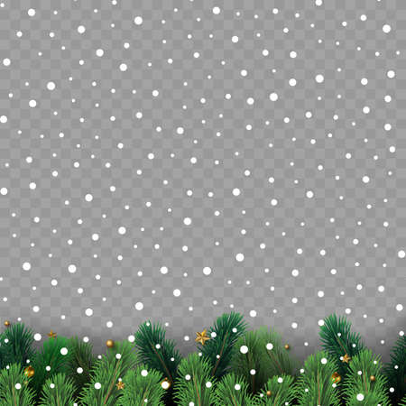 Christmas tree branches with decoration on transparent background. Vector Ilustração
