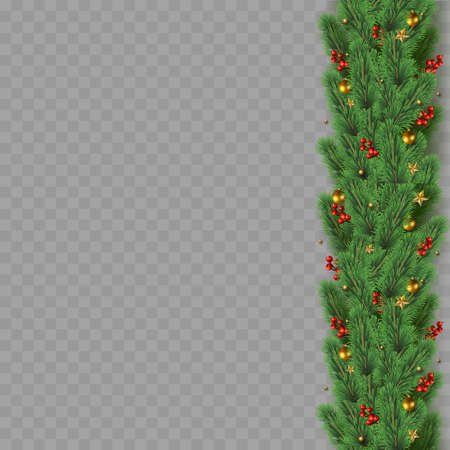 Christmas tree branches with decoration on transparent background. Vector Banco de Imagens - 155966820