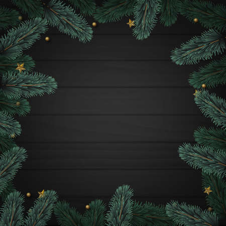 Christmas square tree branch frame on dark wooden background. Vector Banco de Imagens - 155966821