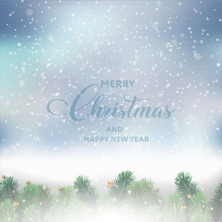 Merry Christmas or Happy New year greeting card with tree branches on blue sky. Vector Ilustração