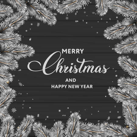 Merry Christmas or Happy New year greeting card on wooden background with tree branches. Vector Banco de Imagens - 155966827