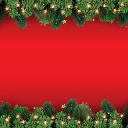 Christmas tree branches with decorations on red background. Vector. Illustration