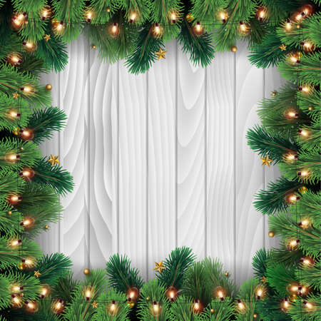 Christmas tree branches on wooden background. Vector