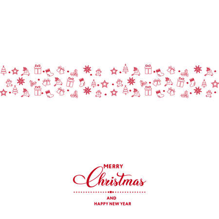 Happy New Year or Christmas card with Xmas decorations. Vector. Illustration