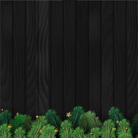 Christmas tree branches on wooden background. Vector Banco de Imagens - 156767873