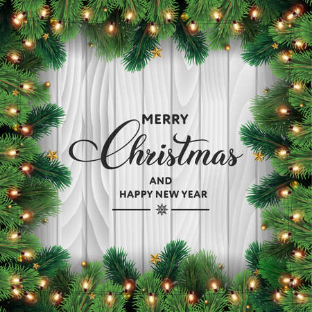 Merry Christmas and Happy New Year card with tree branches and ornaments on wooden background. Vector.