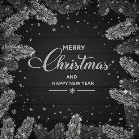 Merry Christmas and Happy New Year card with snowy branches on wooden background. Vector.