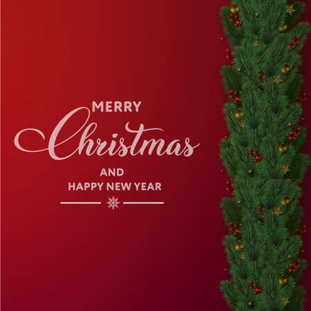 Merry Christmas and Happy New Year card with tree branches and ornaments on red background. Vector Banco de Imagens - 156535164