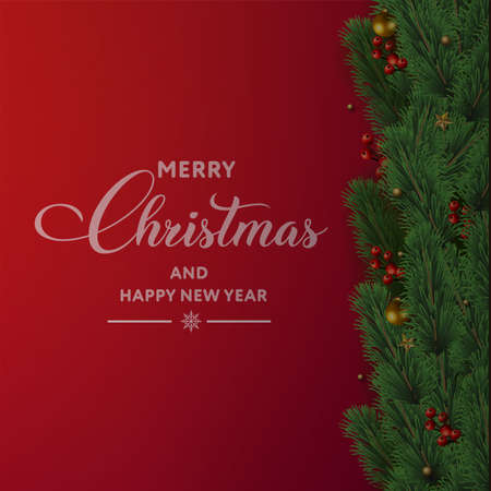 Merry Christmas and Happy New Year card with tree branches and ornaments on red background. Vector Ilustração