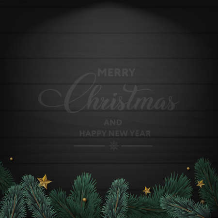 Merry Christmas and Happy New Year card with tree branches and ornaments on wooden background. Vector. Banco de Imagens - 156532286