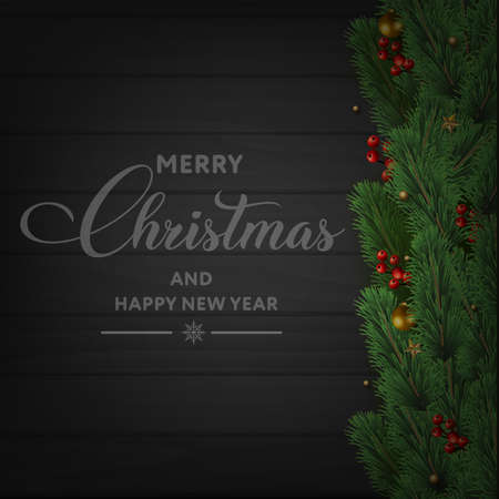 Merry Christmas and Happy New Year card with tree branches and ornaments on wooden background. Vector. Banco de Imagens - 156535803